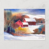 New England Valley Farm Postcard