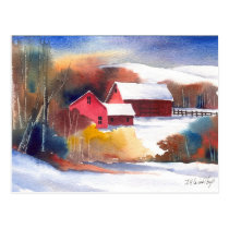 New England Valley Farm Postcard