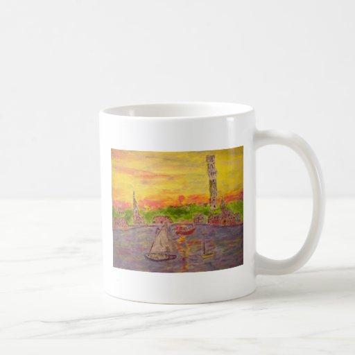 new england village sunset coffee mug