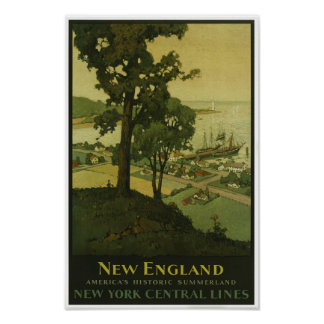 New England Vintage Poster Print