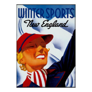 New England Winter Sports Poster