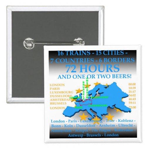 NEW euro pub crawl badge 2 Inch Square Button