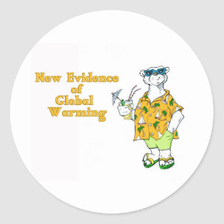 New Evidence of Global Warming Classic Round Sticker