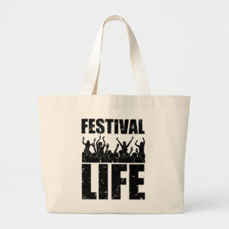 New FESTIVAL LIFE (blk) Large Tote Bag