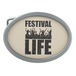 New FESTIVAL LIFE (blk) Oval Belt Buckle