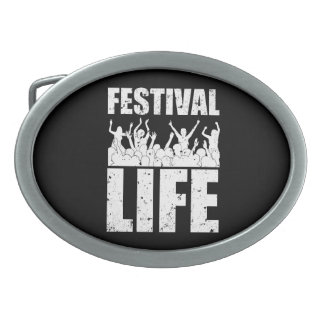 New FESTIVAL LIFE (wht) Oval Belt Buckle