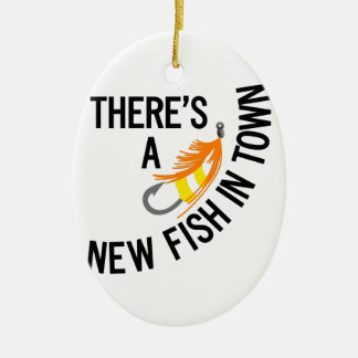 New Fish Double-Sided Oval Ceramic Christmas Ornament
