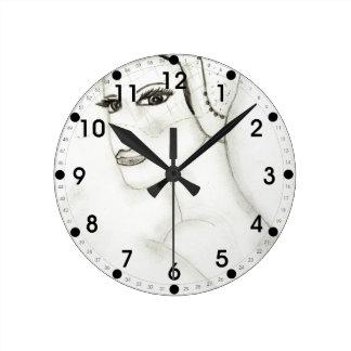 New Flapper Girl Round Clock
