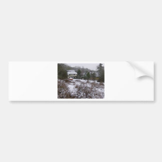New Forest cottage in snow Bumper Stickers