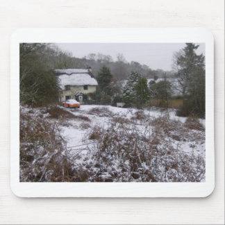 New Forest cottage in snow Mouse Pad