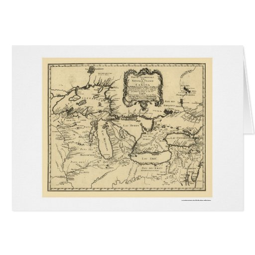 New France Canada Map 1755 Greeting Cards