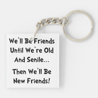 New Friends Double-Sided Square Acrylic Keychain