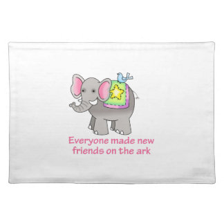 NEW FRIENDS ON THE ARK CLOTH PLACE MAT