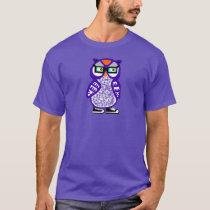 New Funny Hipster Purple Owl Men's Tshirt Gift