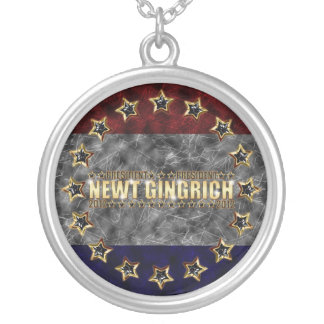 New Gingrich Stars and Stripes Round Pendant Necklace