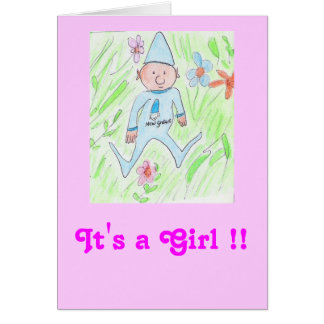new gnome, It's a Girl !! Greeting Card