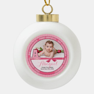 New Godparents Monogram A Pink Baby Photo Ceramic Ball Christmas Ornament