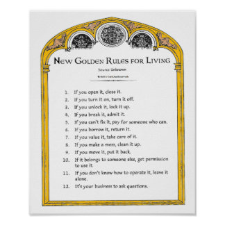 New Golden Rules for Living Poster