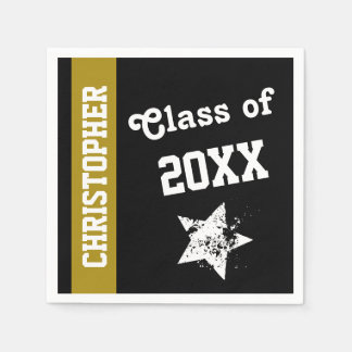NEW GRAD Class of ANY YEAR Gold Stripe A08 Standard Cocktail Napkin