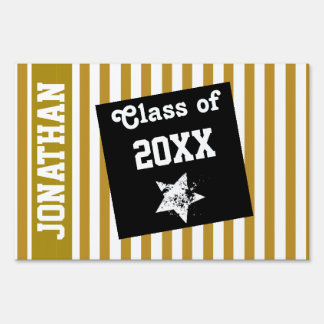 NEW GRAD Class of ANY YEAR Gold Stripe A14 Yard Sign