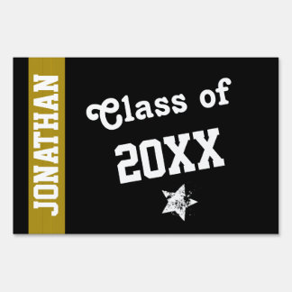 NEW GRAD Class of ANY YEAR Gold Stripe A15 Signs