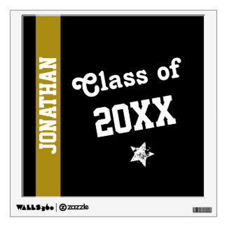 NEW GRAD Class of ANY YEAR Gold Stripe A17 Wall Decal
