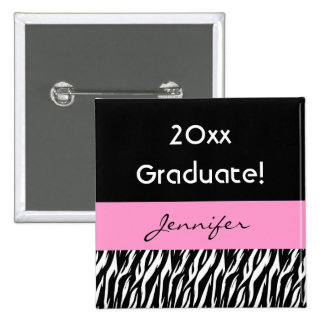 New Graduate with Pink Custom Name Any Year Pinback Button