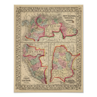 New Granada Venezuela Guiana Map by Mitchell Print