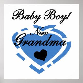 New Grandma Baby Boy Blue Heart Gifts Poster