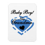 New Grandma Baby Boy Blue Heart Gifts Vinyl Magnets