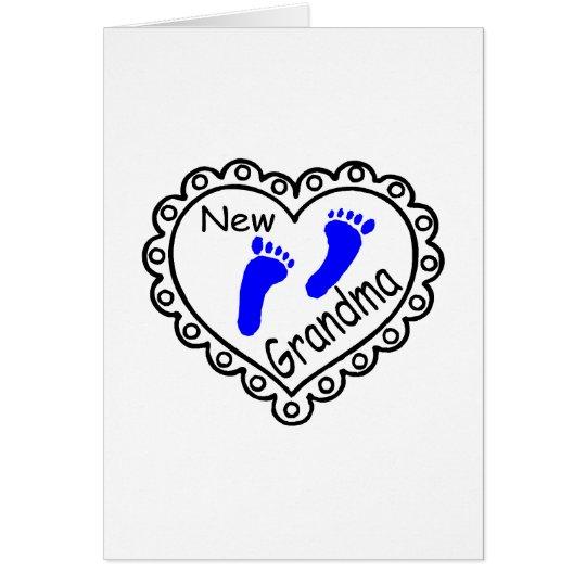 New Grandma Baby Boy Heart Card