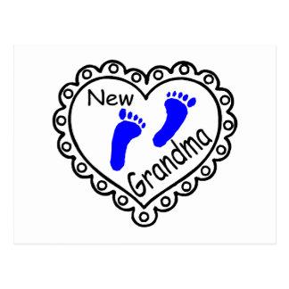 New Grandma Baby Boy Heart Postcard
