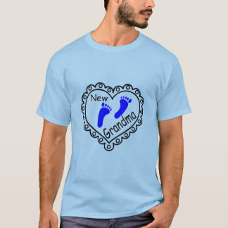 New Grandma Baby Boy Heart T-Shirt