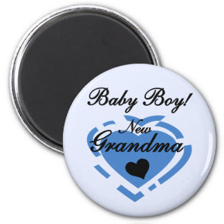 New Grandma Baby Boy Tshirts and Gifts 2 Inch Round Magnet