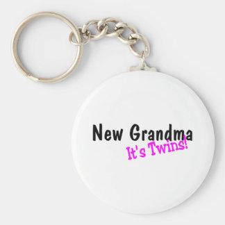 New Grandma Its Twins Keychain