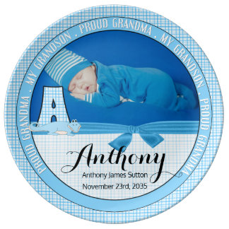 """New Grandma Letter """"A"""" Blue Check Baby Photo Dinner Plate"""