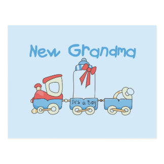 New Grandma of Boy-Train Tshirts and Gifts Postcard