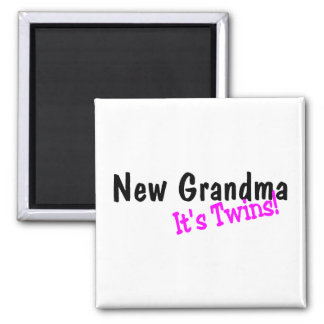 New Grandma Of Twins 2 Inch Square Magnet