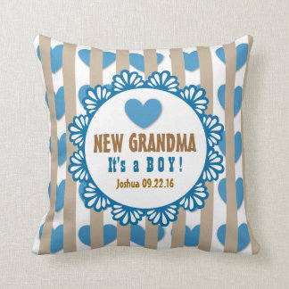 NEW GRANDMA with Hearts and Stripes V03D Pillow