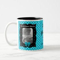 New Grandmother Blue Polka Dot Photo Two-Tone Coffee Mug