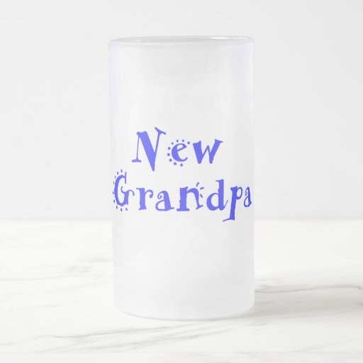 New Grandpa 16 Oz Frosted Glass Beer Mug