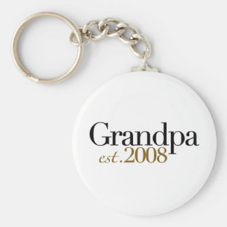 New Grandpa Est 2008 Basic Round Button Keychain