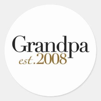 New Grandpa Est 2008 Classic Round Sticker