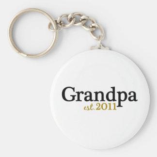 New Grandpa est 2011 Basic Round Button Keychain