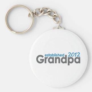 New Grandpa established 2012 Basic Round Button Keychain
