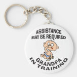 New Grandpa In Training Gift Basic Round Button Keychain