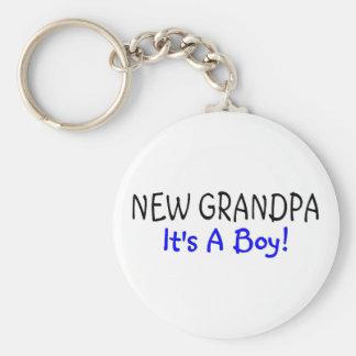 New Grandpa Its A Boy Keychain