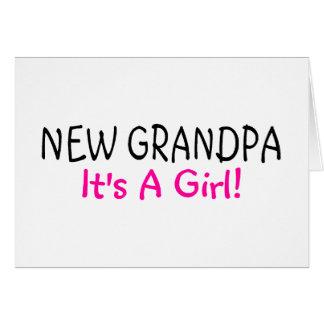 New Grandpa Its A Girl Pink Greeting Card