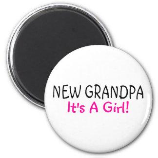 New Grandpa Its A Girl Pink Fridge Magnet