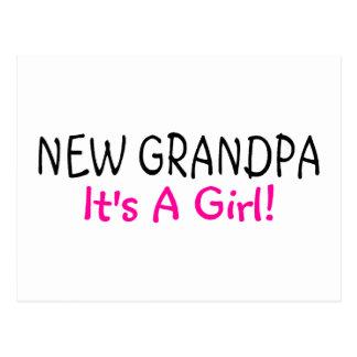 New Grandpa Its A Girl Pink Postcard